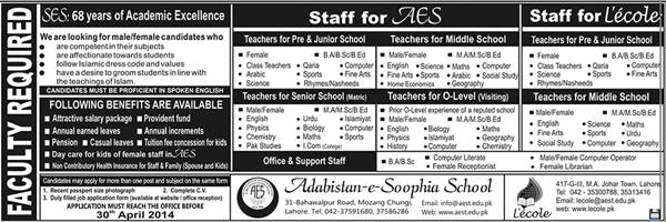 TEACHING JOBS IN LAHORE
