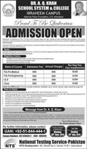 NTS Test For Admission in Dr A Q Khan School System & College