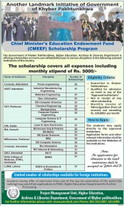 KPK CM's Education Endowment Fund Scholarship Program 2017