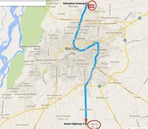 Multan Metro Bus project Route Map