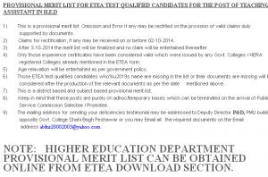 KPK ETEA HED Teaching Assistant Test Result 2014