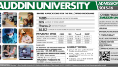 Ziauddin University Karachi MBBS, BDS, Pharm.D Admission 2020