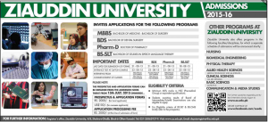 Ziauddin University Karachi MBBS, BDS, Pharm.D Admission 2017