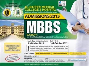 Al-Nafees Medical College Islamabad MBBS Admission 2017