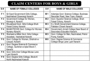 Karachi CAP Form SECCAP List of Claim Centers