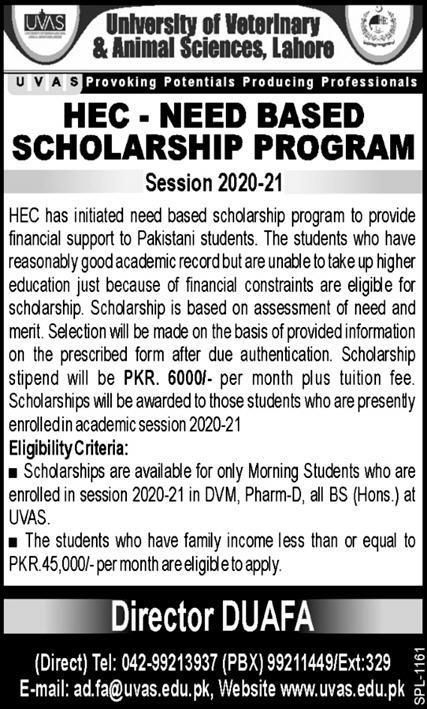 UVAS Has Invited Applications For HEC Need Base Scholarships 2020