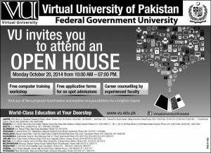Virtual University VU Invites You To Attend An Open House