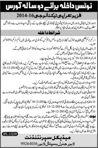 Admission in 2 Years Physiotherapy Technology in General Hospital 2014
