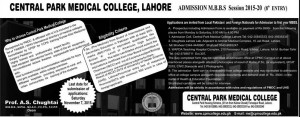 Central Park Medical College Lahore MBBS Admission 2015, Form Download