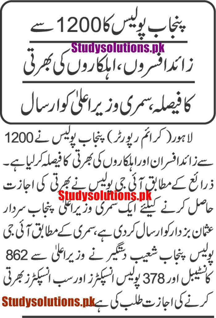1200 Punjab Police Jobs 2020, Inspector, SI & Constables