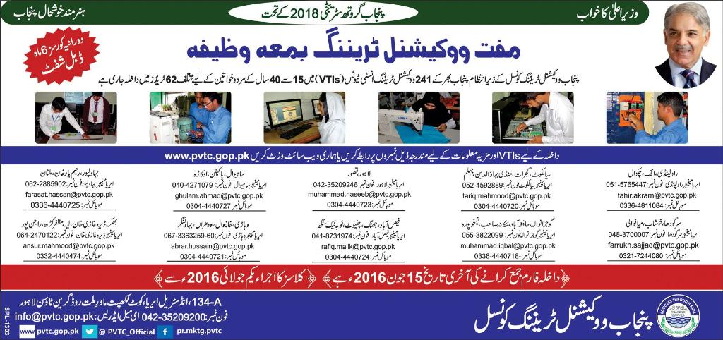 Free Vocational Training Courses By Punjab Govt & PVTC 2017