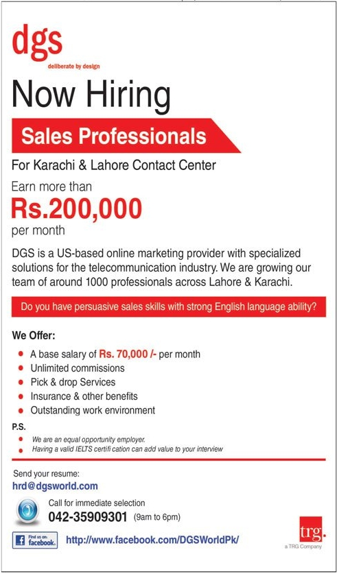 Sales Representative DGS Jobs In Lahore, Karachi 2017 Earn Up To 200,000