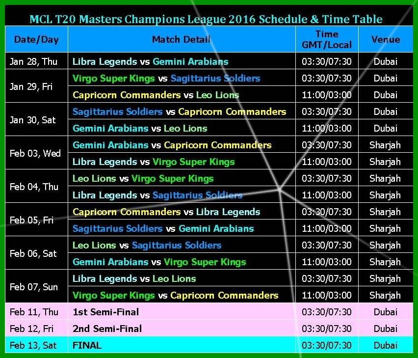 Masters Champions League (MCL 2016)-Schedule, News, Teams, Players