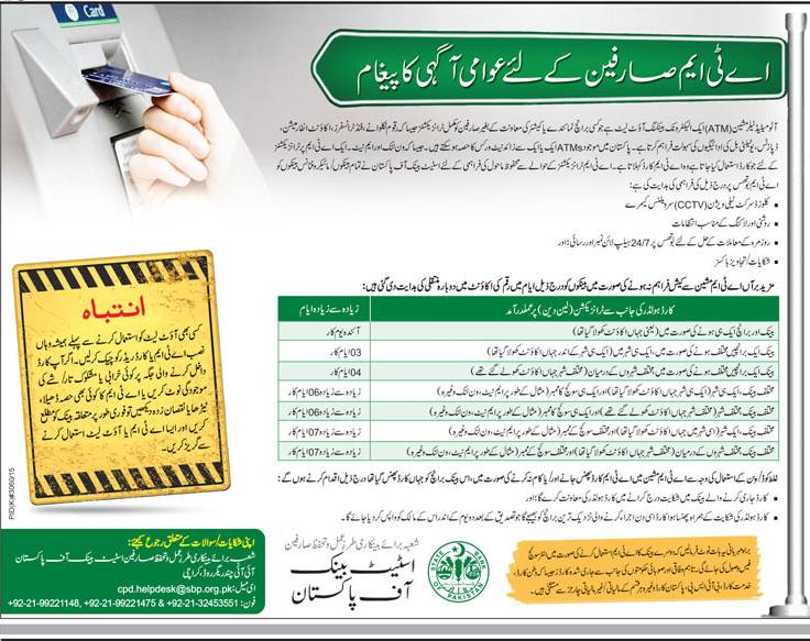 ATM Guide, Helpline Number & Email For All Banks of Pakistan