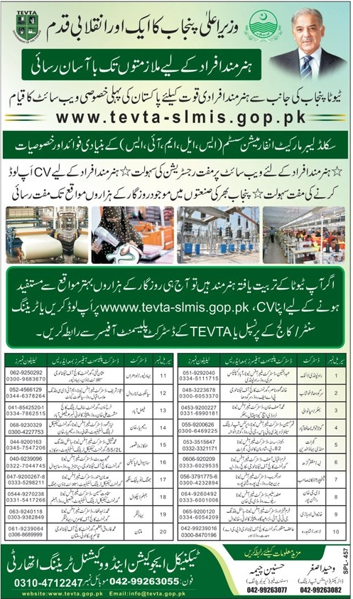 TEVTA Jobs Portal- Upload CV & Apply Online For Jobs in Industries of Punjab