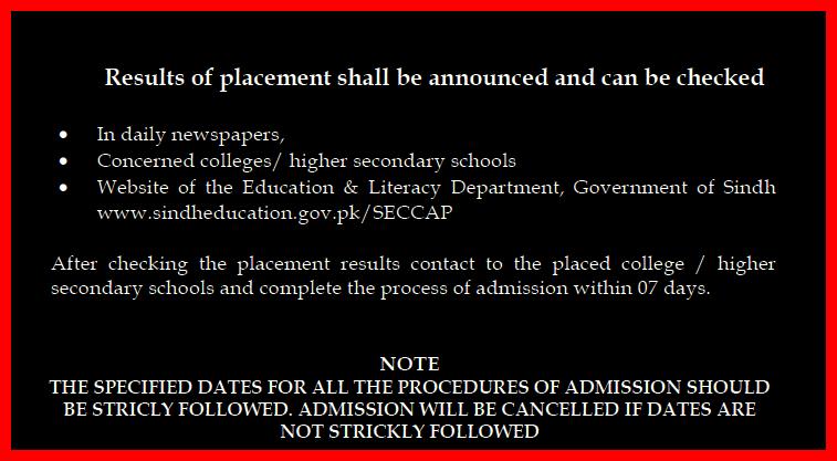 Karachi Cap SECCAP College Admission Result 2017