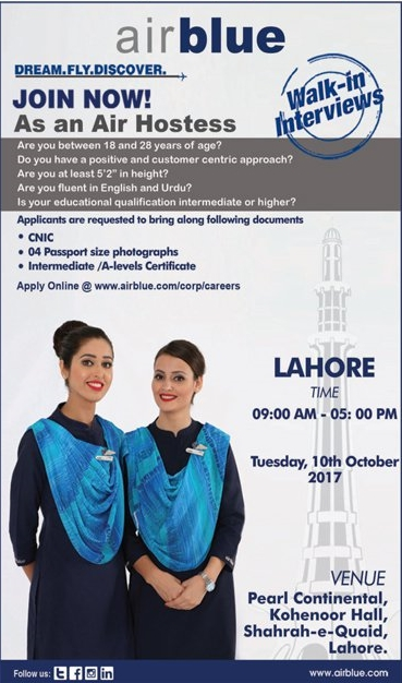 Air Hostess Jobs in Air Blue 2017
