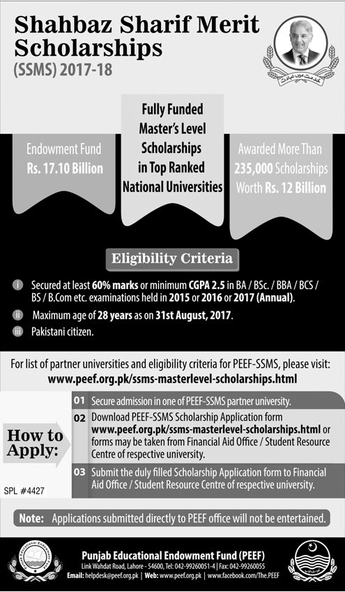 CM Punjab SSMS Talent Scholarship Scheme 2017