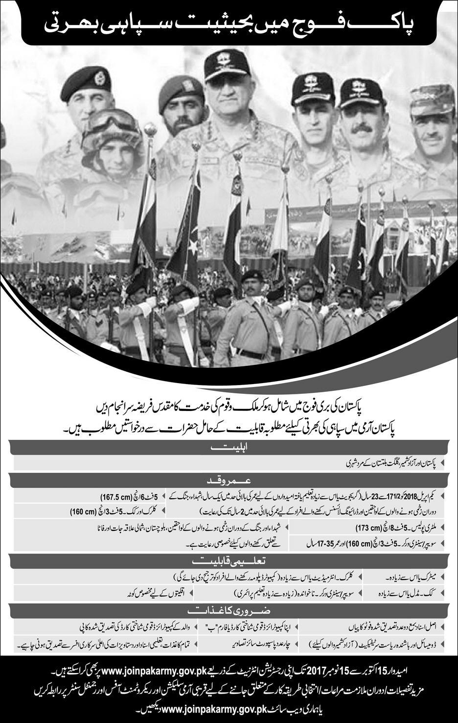 Join Pak Army as Soldier 2017