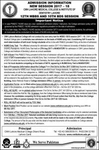 CMH Lahore Medical & Dental College MBBS & BDS Admission 2017