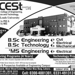 UCEST Lahore Admission 2020 in BSc, MS Engineering & BSc Technology