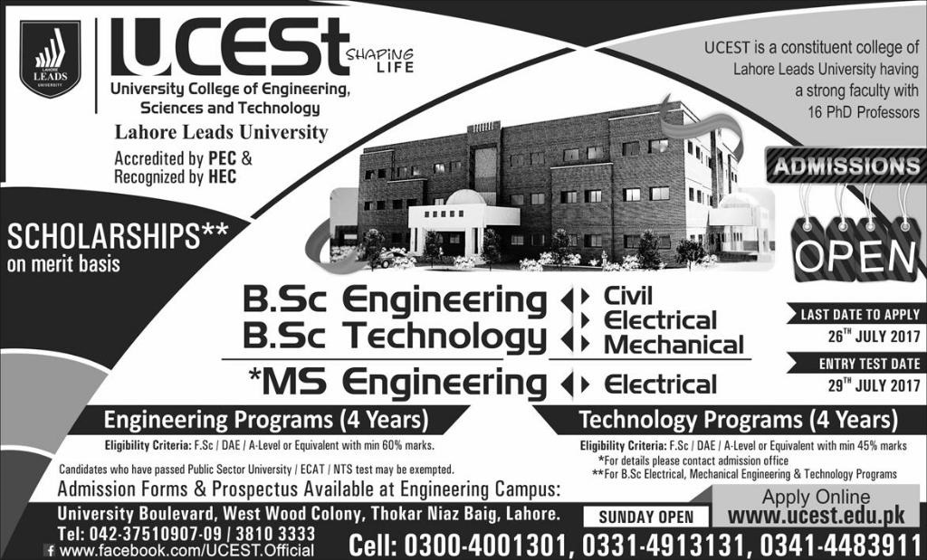 UCEST Lahore Admission 2017 in BSc, MS Engineering & BSc Technology