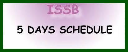 ISSB Test 5 Days Schedule