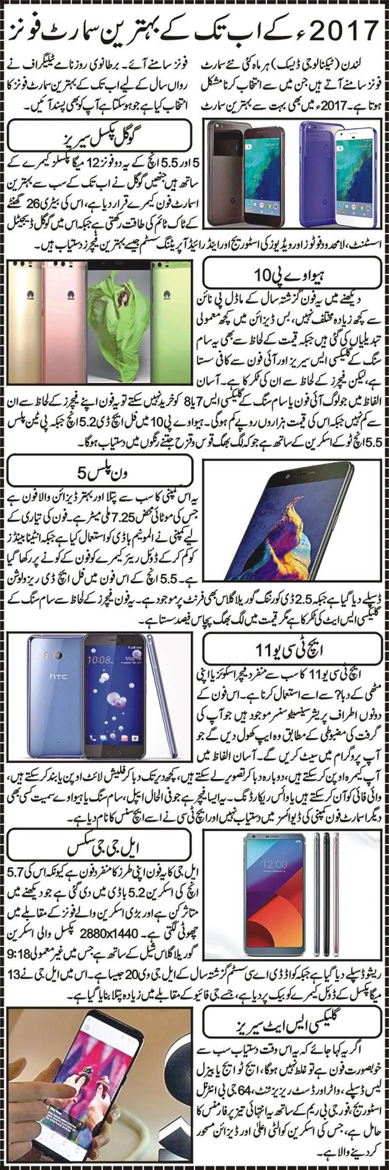 Best Most Popular Smart Phones of 2017-Details in Urdu & English