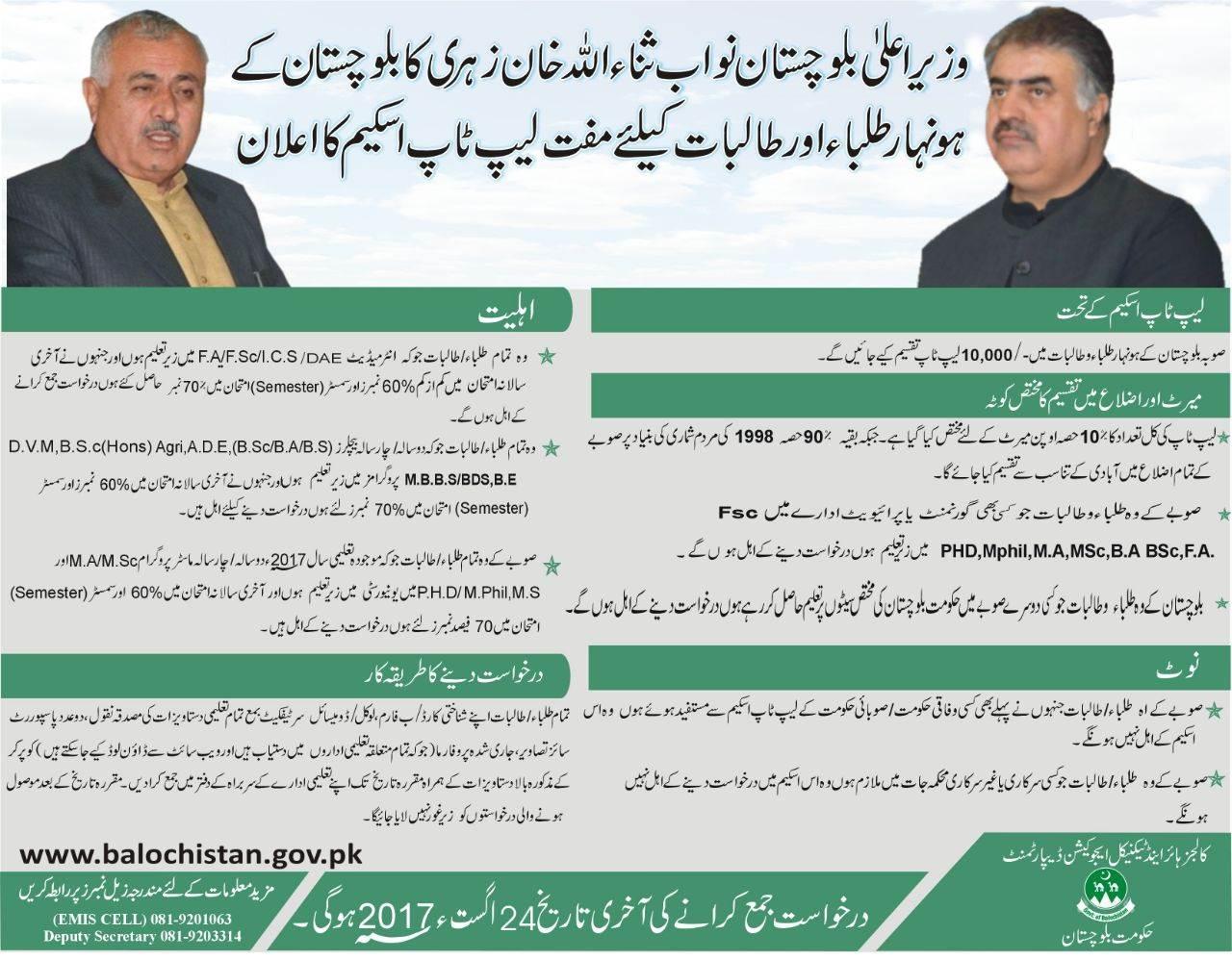 CM Balochistan Free Laptop Scheme 2017 Form, Distribution Schedule