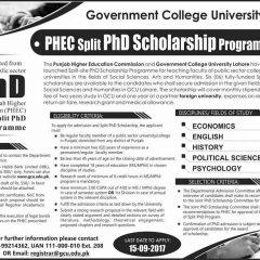 GC University Lahore PHEC Split PhD Scholarship Program 2021