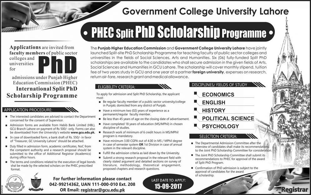 GC University Lahore PHEC Split PhD Scholarship Program 2017