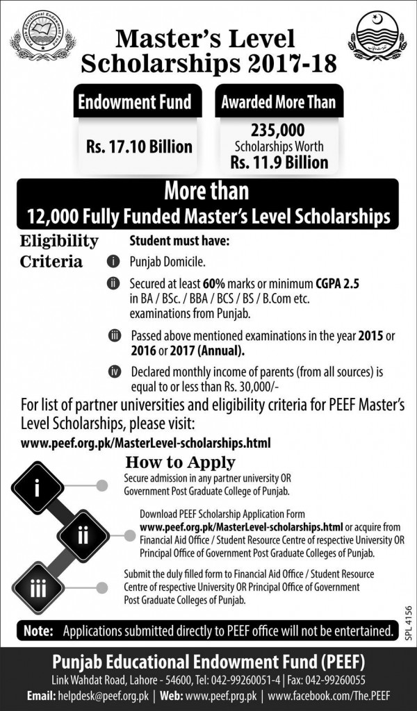 Master Level PEEF Scholarships 2017