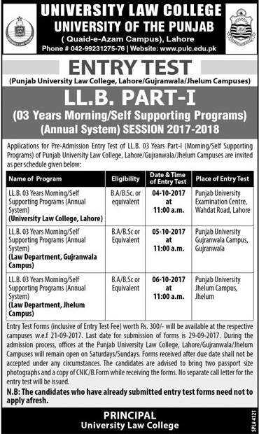 Punjab University Law College LLB 3 Years Entry Test 2017