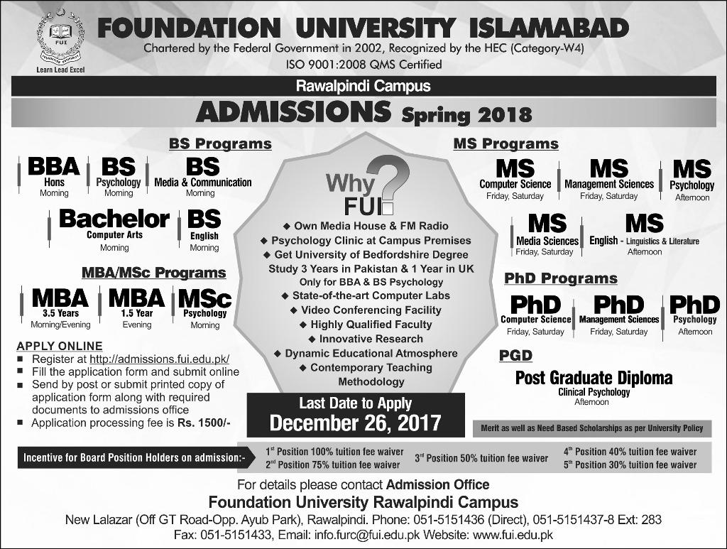 Foundation University Rawalpindi Campus FUI Admission 2018