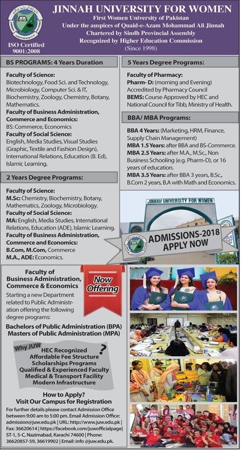 Jinnah University For Women JUW Karachi Admission 2018