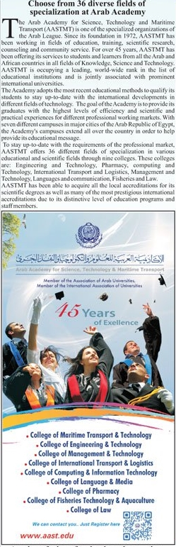 Arab Academy For Science, Technology & Maritime Transport Admission 2021
