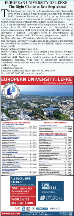 European University of Lefke Cyprus Admission 2021, 50% Scholarships