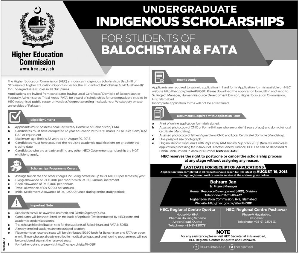 HEC Indigenous Scholarships 2018 For FATA & Balochistan (Master/M.Phil) Form, Result