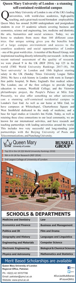 Queen Mary University of London Admission 2018 For International Students