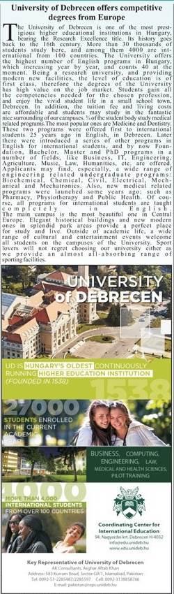 University of Debrecen Hungary Admission 2018 For International Students