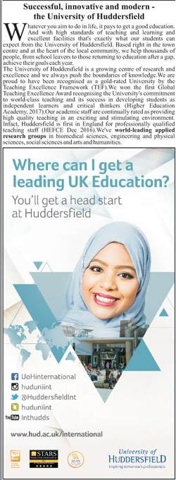 Huddersfield University UK Admission 2020 For Pakistani Students