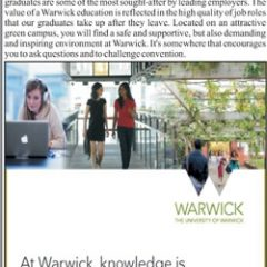 Warwick University UK Admission 2020 For International Students