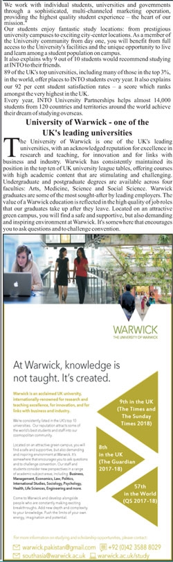 Warwick University UK Admission 2018 For International Students