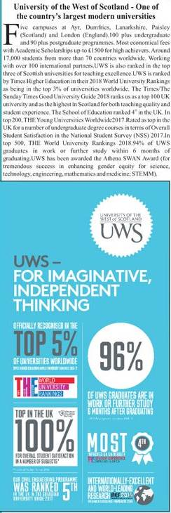 University of the West of Scotland Admission 2018