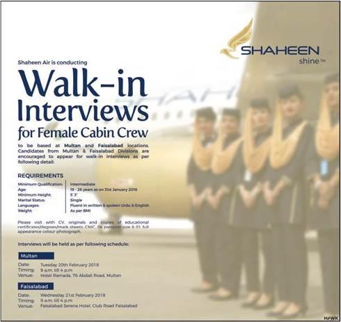 Shaheen Airlines Cabin Crew Jobs 2018