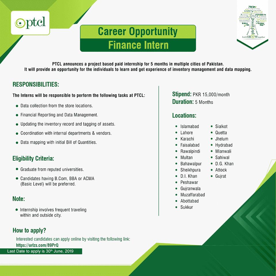 PTCL 1 Year Internship Program 2019-20 Online Registration