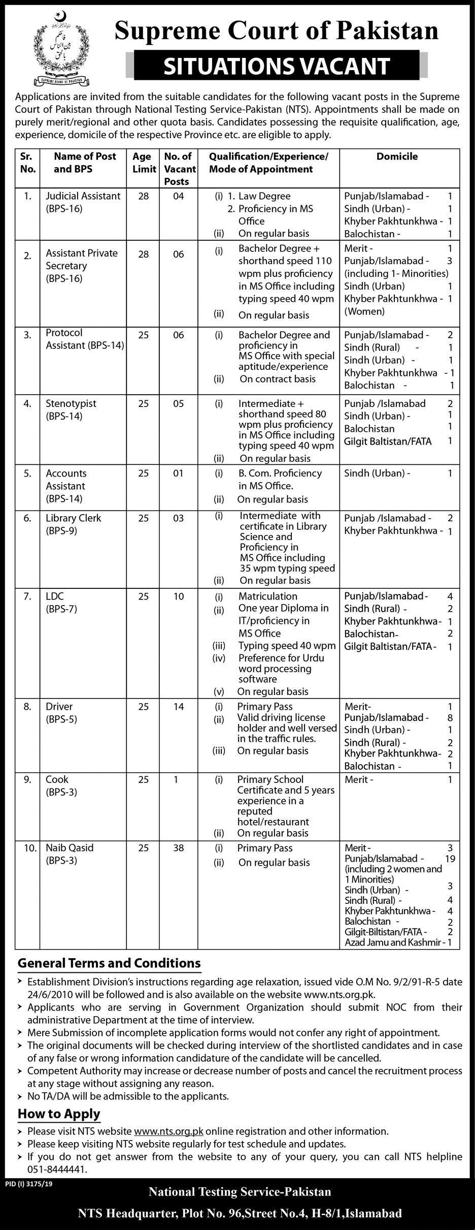 Supreme Court of Pakistan Jobs 2020, NTS Form Download