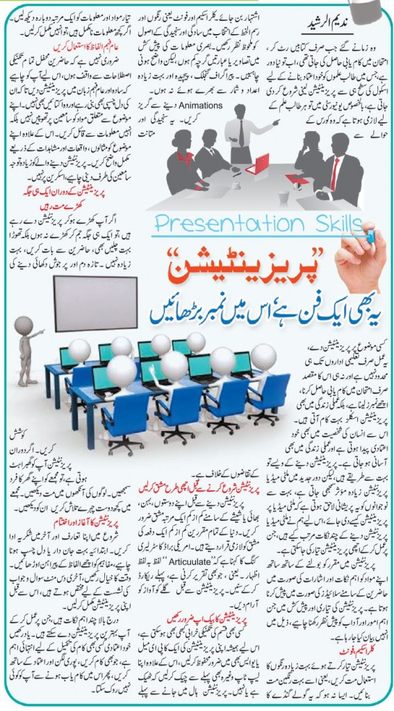 Top Ten Presentation Tips in Urdu & English