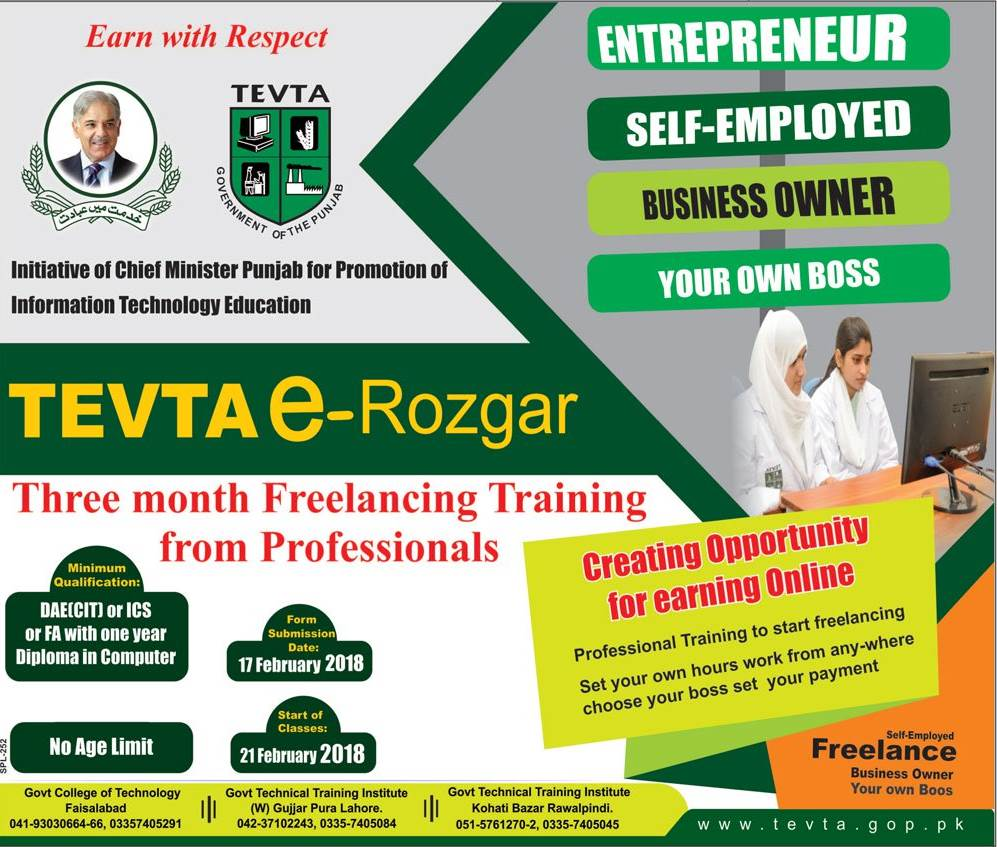 Tevta Erozgar Freelancing Training Course 2020, Eligibility, Campuses