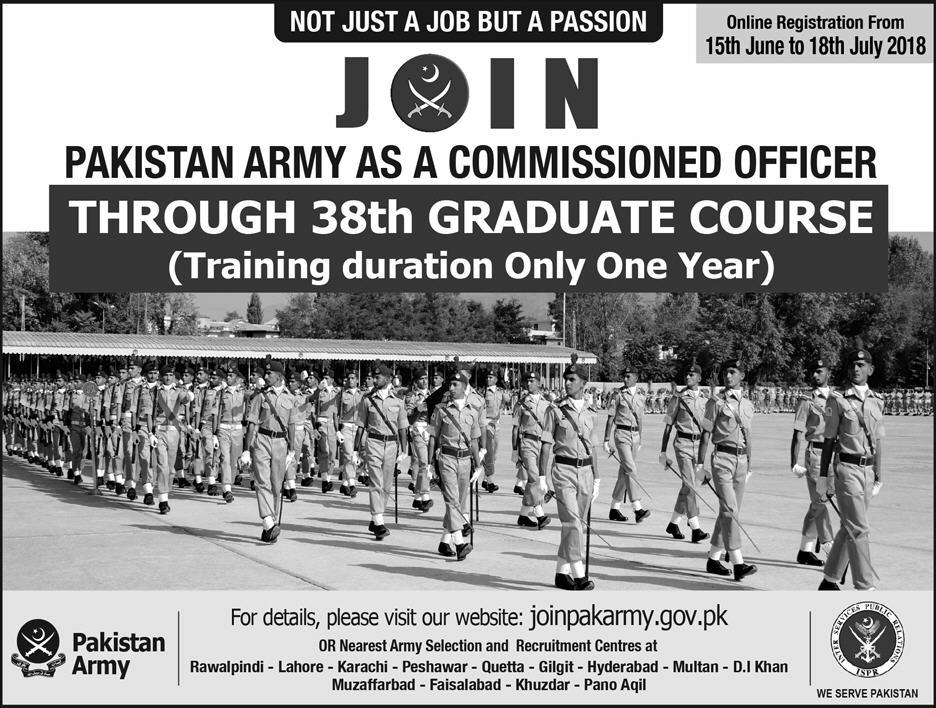 Join Pak Army Through 38th Graduate Course 2018
